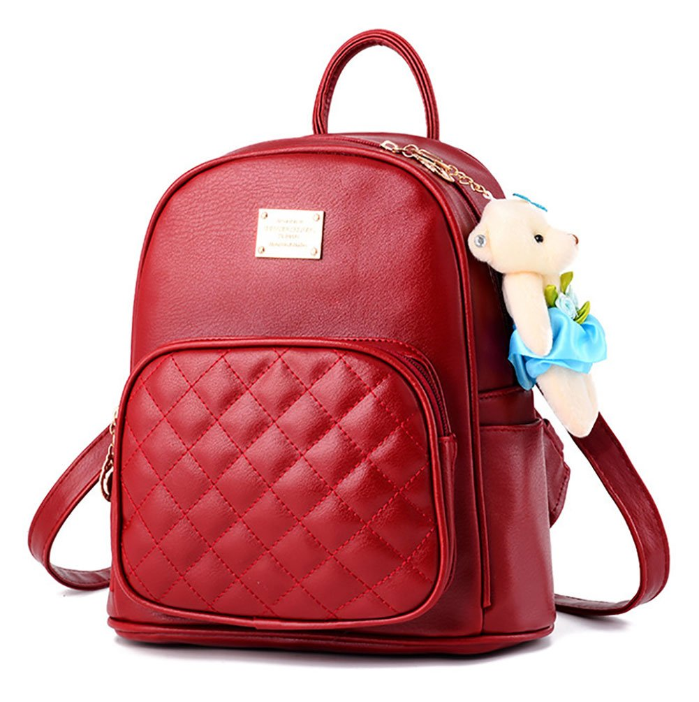 I IHAYNER Leather Backpack Purse Satchel School Bags Casual Travel Daypacks for Womens Mini Backpack Red