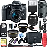 Canon EOS 77D 24.2 MP DSLR Camera + EF-S 18-55mm IS STM & 75-300mm III Lens Kit + Accessory Bundle 64GB SDXC Memory + SLR Photo Bag + Wide Angle Lens + 2x Telephoto Lens + Flash & More