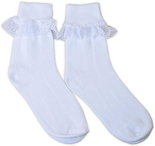 Taglia UK Calzini alla caviglia con frange in pizzo da donna adam /& eesa 3 paia Calze con volant per feste