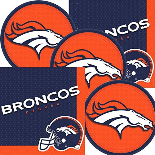Denver Broncos NFL Football Team Logo Plates And Napkins Serves 16