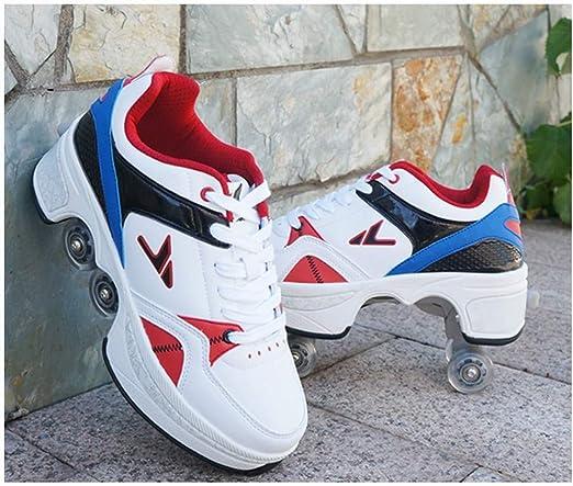 WXBYDX Botas Ajustables De Patines De Ruedas Cuádruples, Zapatos Multiusos 2 En 1 Adecuados para Niños Principiante Unisex Luz Automática De Skate Zapatillas con Ruedas ,Tamaño (31-43) White blue-38: Amazon.es: Hogar