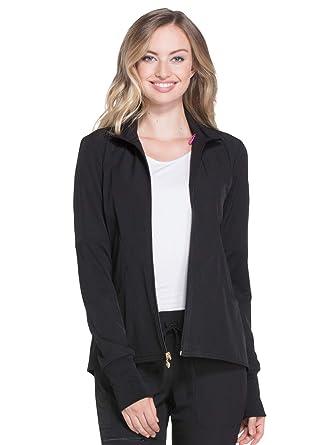 da7a0bd1da1 HeartSoul Scrubs Women's HS315 Heart-Warming Knit Panel Zip Front Jacket-  Black- X