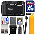 Nikon Coolpix W300 4K Wi-Fi Shock & Waterproof Digital Camera with 32GB Card + Case + Battery + Monopod + Floating Handle + Kit by Nikon