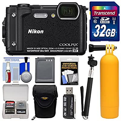 Nikon Coolpix W300 4K Wi-Fi Shock & Waterproof Digital Camera with 32GB Card + Case + Battery + Monopod + Floating Handle + Kit by Nikon