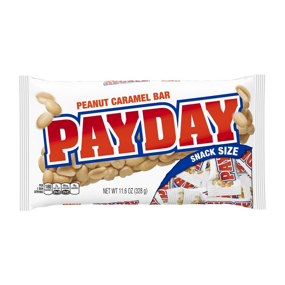 PayDay Snack Size Candy Bars, 11.6-Ounce Bags (Pack of 12)