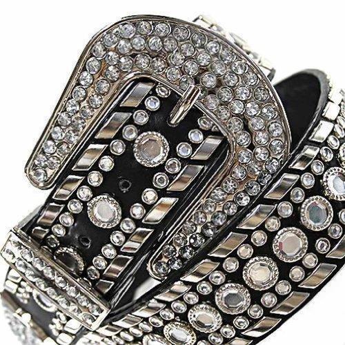 Western Belt for Women With Lots of Gorgeous Studded Rhinestones Black Medium - Western Rhinestone Black Belt