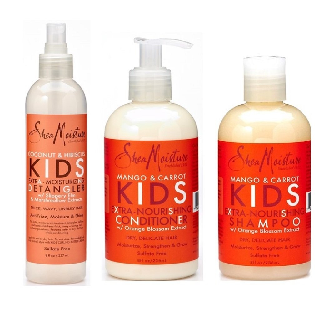 Shea Moisture Kids Hair Care Combination Pack – Includes Mango & Carrot 8oz KIDS Extra-Nourishing Shampoo, 8oz KIDS Extra-Nourishing Conditioner, and 8oz Coconut & Hibiscus KIDS Detangler by Shea Moisture