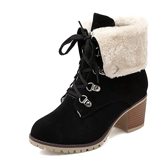 Women's Solid Imitated Suede Kitten-Heels Lace-up Round Closed Toe Boots