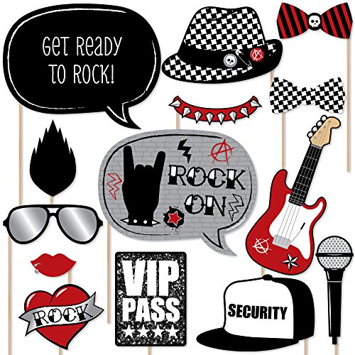 Big Dot of Happiness Party Like a Rockstar - Photo Booth Props Kit - 20 Count