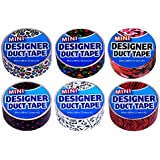 Duct Tape Mini 6 pack Polka Dots, Puppy Prints, Musical Notes, Pink Camouflage, Rainbow Leopard, and Tiger Stripes.
