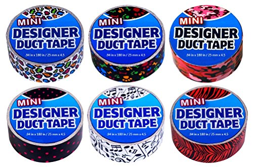 Duct Tape Mini 6 pack Polka Dots, Puppy Prints, Musical Notes, Pink Camouflage, Rainbow Leopard, and Tiger Stripes. (Designer Duct Tape Pack)