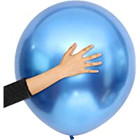 10 Pieces 18 Inch Metallic Balloons Shiny Latex Balloons for Birthday Wedding Party Decoration (Blue)