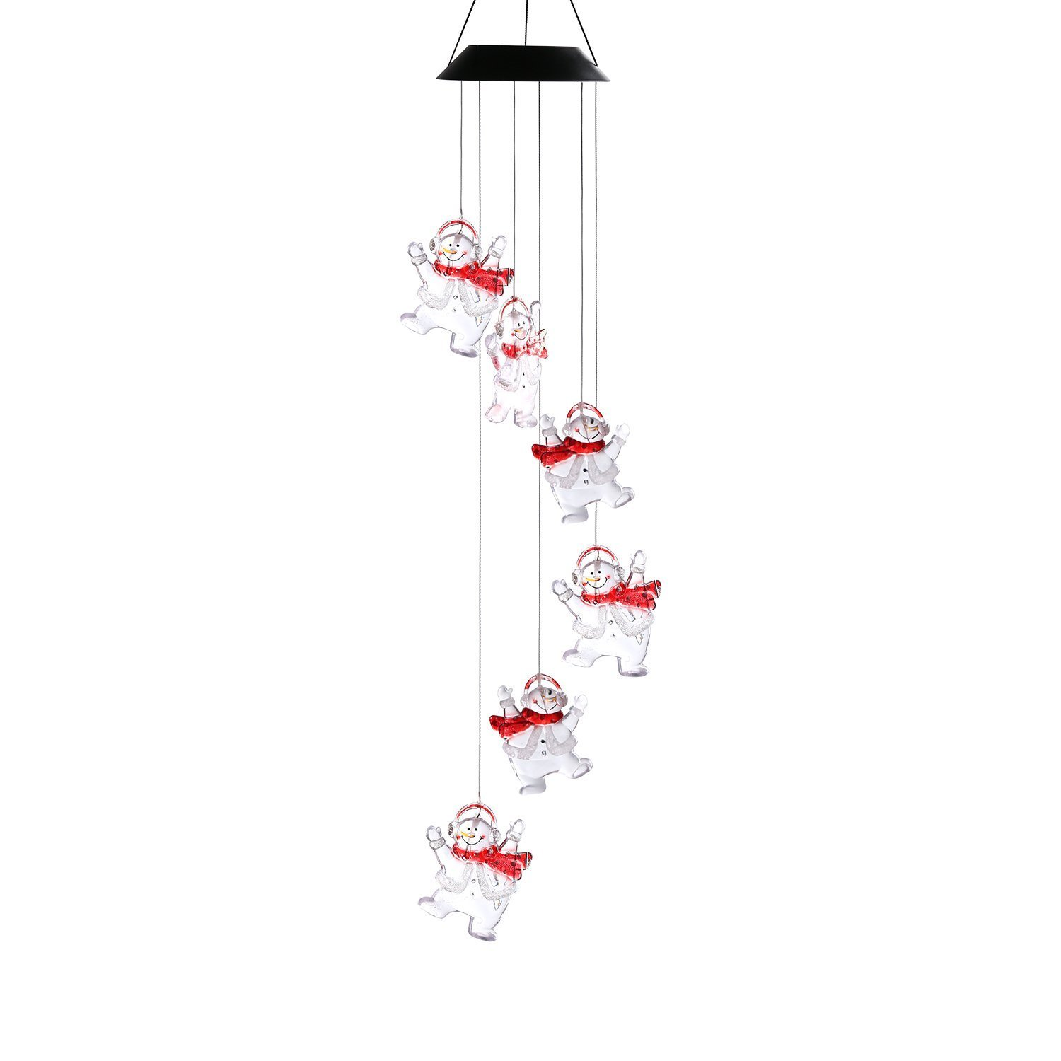 Multi Color Solar Powered Christmas Snowman Wind Chime Mobile LED Light, Gzero Spiral Spinner Windchime Waterproof Portable Outdoor Chime for Patio, Deck, Yard, Garden, Home,Pathway
