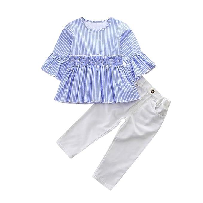 6e7e8e30279c Amazon.com  Lisin 2Pcs Toddler Kids Baby Girls Solid Tops+Denim ...
