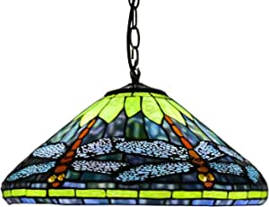 """16"""" Disc Dragonfly Tiffany Style Pendant Lighting, Antique Stained Glass Ink Color Orange Lampshade Chandelier,Vintage Ceiling Light for Restaurant Game Living Dining Room,2 Lights,E27"""