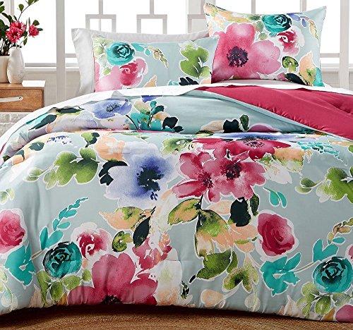 Hallmart Floral Comforter Set Queen Floral Print Watercolor Reversible Comforter Set for Spring - Pink and Blue 3 Piece Set - Floral Queen Comforter