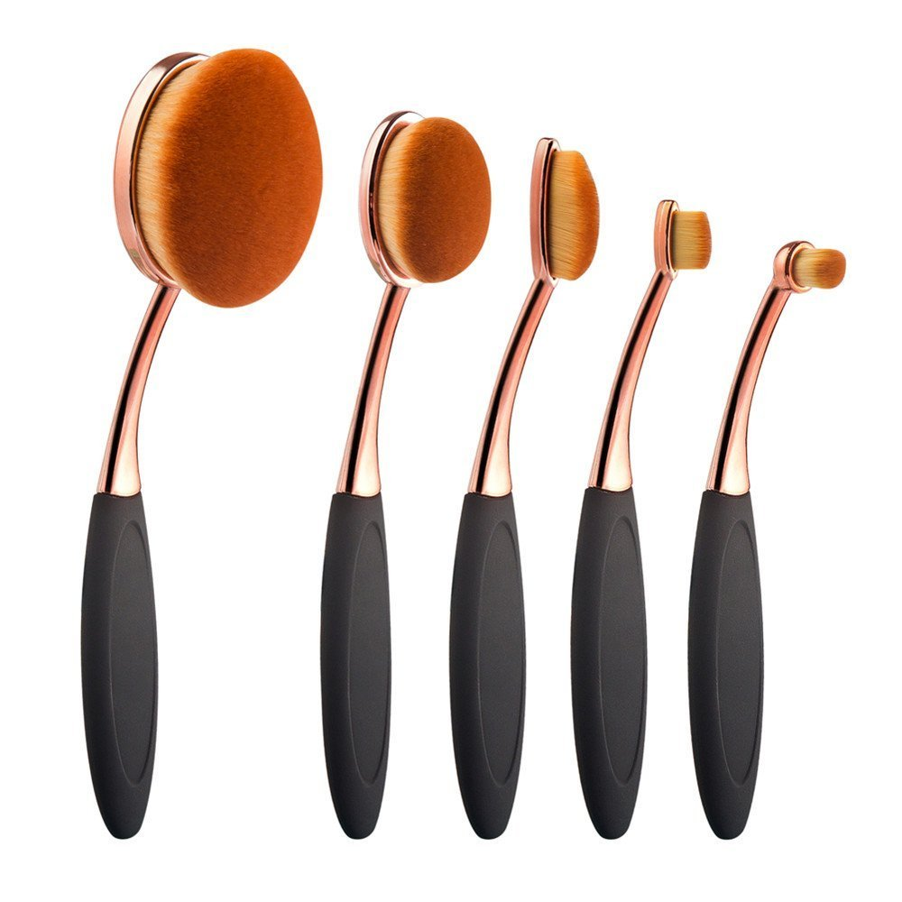 Yoseng Oval Foundation Brush 5 Pcs Toothbrush makeup brushes Fast Flawless Application Liquid Cream Powder Foundation