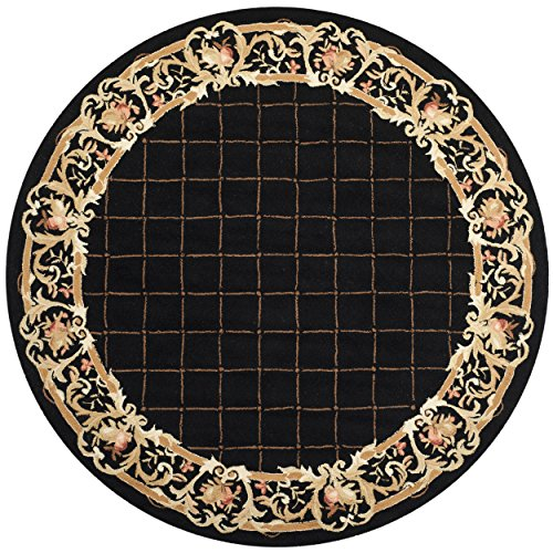 Safavieh Chelsea Collection HK333B Hand-Hooked Black Premium Wool Round Area Rug (8' Diameter) - 8r Chelsea Round Rug