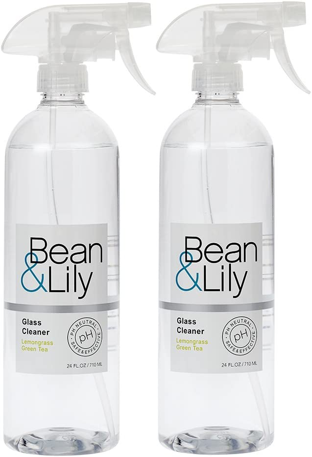 Bean & Lily Glass Cleaner - Lemongrass Green Tea - 24 oz - Natural Plant Based - pH Neutral - Non Toxic - Sprays (Pack of 2)