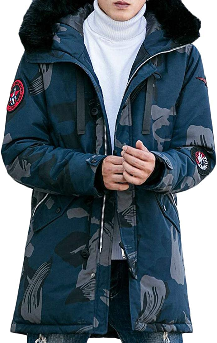 C/&H Mens Camouflage Cotton-Padded Slim Overcoat Thickened Parkas Coat