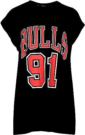 Womens Ladies BULLS 91 Varsity Sports Round Neck Turn Up Cap Sleeve T Shirt Top