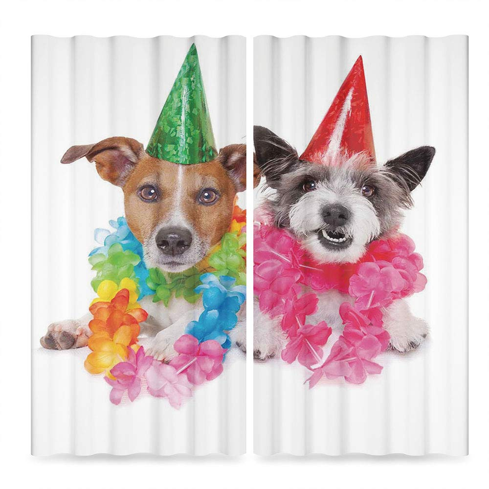C COABALLA Birthday Decorations for Kids Blackout Bedroom Curtains,Baby Dogs Terriers with Floral Chaplet Party Cones Image,for Living Room, 2 Panel Set, 28W X 39L Inches