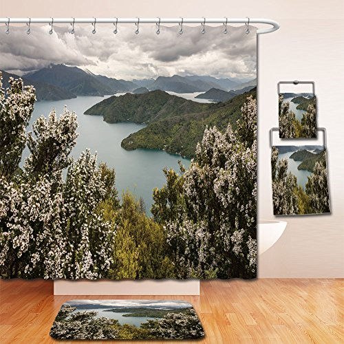 Beshowereb Bath Suit: Showercurtain Bathrug Bathtowel Handtowel manuka trees above Queen Charlotte - Outlets Premium Charlotte