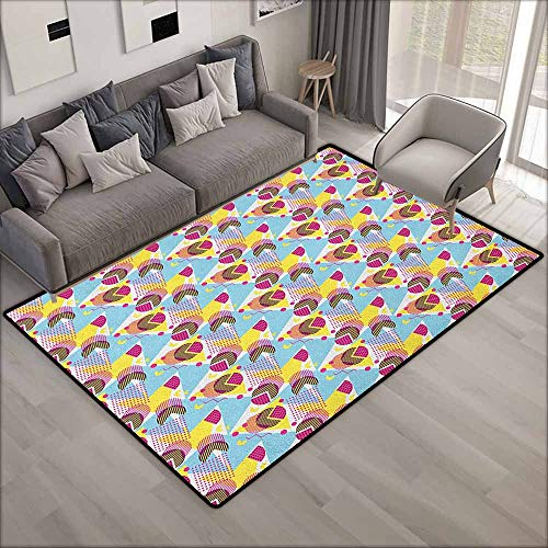 Outdoor Patio Rug,Pastel Geometric Elements Memphis in The Style of 80s Funky Pop Triangles Circles and Dots,Anti-Static, Water-Repellent Rugs,5'3