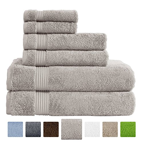 Hotel & Spa Quality Super Absorbent and Soft, 100% Genuine Cotton, 6 Piece Turkish Towel Set for Kitchen and Decorative Bathroom Sets Includes 2 Bath Towels 2 Hand Towels 2 Washcloths, Vanilla Beige