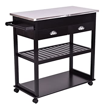 Giantex Rolling Kitchen Trolley Cart Stainless Steel Flip Top W/Drawers  U0026Casters
