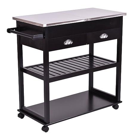 Giantex Rolling Kitchen Trolley Cart Stainless Steel Flip Top W/Drawers  U0026Casters