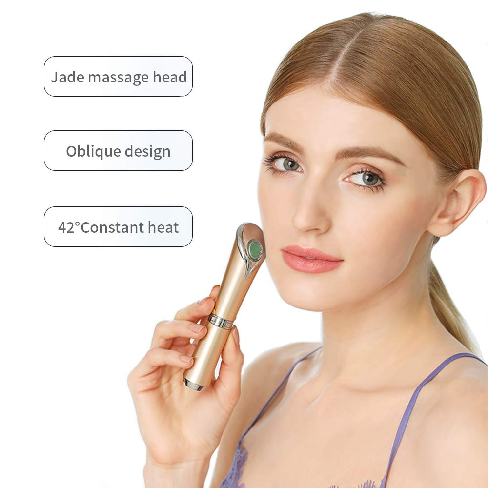 Eye Massager Tinwong Ionic Eyes Facial Massager with Heat Wand with 42 ℃ Heated Eye Wrinkle Remover Relieves Dark Circles (White)