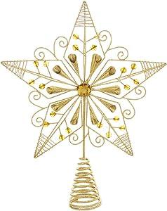 """Kurt S. Adler JT0138 12.25"""" Gold Wire & Jewel Bead Star Tree Topper"""