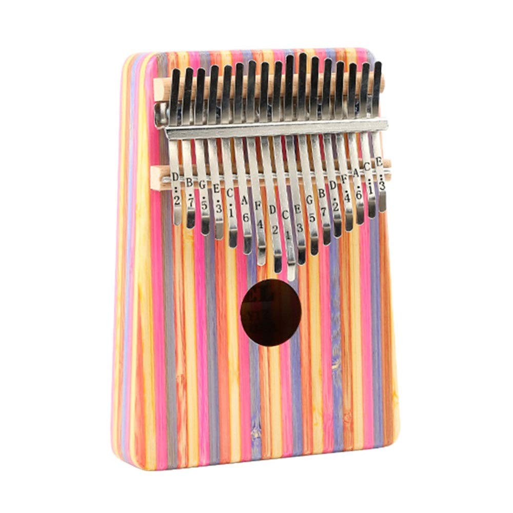 Professional Finger Thumb Piano Color Strips Bamboo Wooden Thumb Piano 17 Keys Kalimba Standard C Tune Finger Piano Metal Engraved Notation Tines With Tuning Hammer Pickup Carry Bag Kids Musical Instr by BWAM-MUS