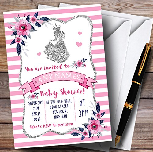Silver & Pink Princess Invitations Baby Shower Invitations