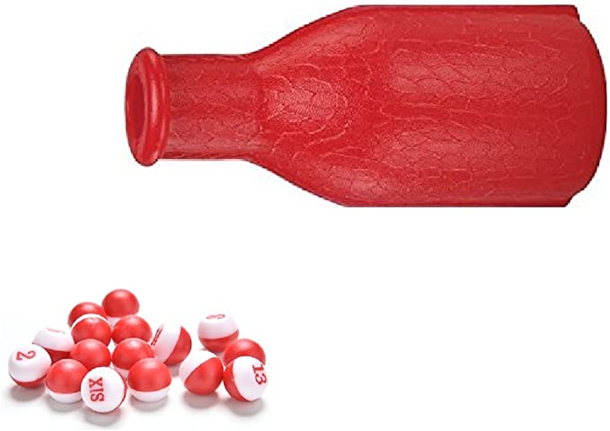 Billiard Brown Kelly Pool Shaker Bottle with 16 Marbles Tally Peas//Balls
