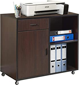 VECELO Mobile File Cabinet for Home Office Printer Stand with Door Open Storage Shelves, Black Walnut