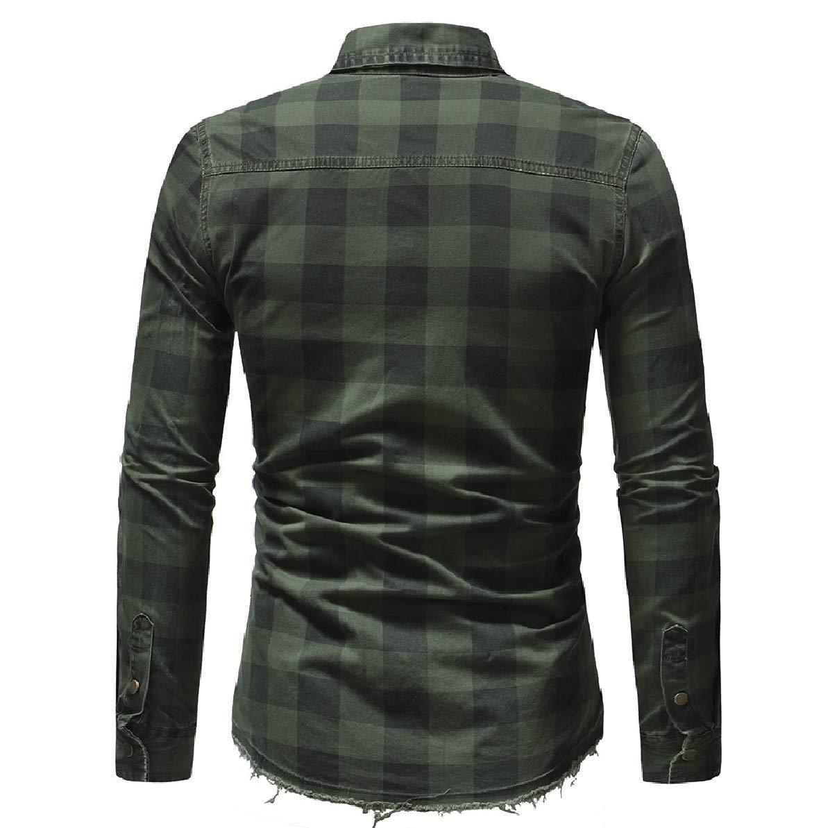 Zimaes-Men Leisure Business Comfort Plaid Long Sleeve Oxford Shirt