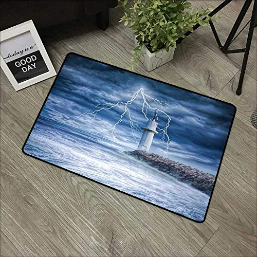 Restaurant mat W35 x L47 INCH Lighthouse Decor,Lighthouse Thunderstorm Turbulent Wind Moody Weather Dramatic Sky Scene with Non-Slip Backing Door Mat Carpet