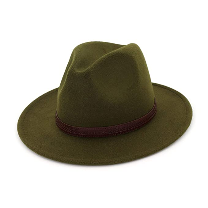 Image Unavailable. Image not available for. Color  Fedoras Felt Hat Big  Brim Hats for Women Men British Style Vintage Church Hats Lady Flat a68e91adbee6