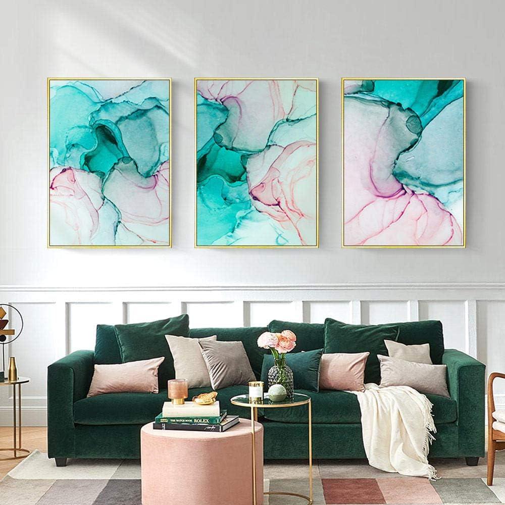Verde Rosa Mármol Arte de la lona Pop Art Moda moderna Cartel de la pared Alcohol Tinta Cuadros abstractos Sala de estar-40X60Cmx3 Piezas Sin marco