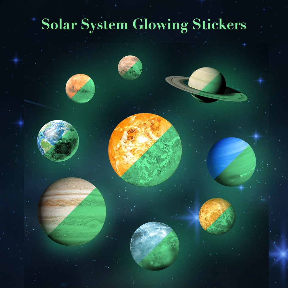 Solar System Wall Decals 9 PCS Glow in Dark Planets Light Luminous 3D Wall Stickers for Kid Baby Nursery Vinyl Removable Art Mural