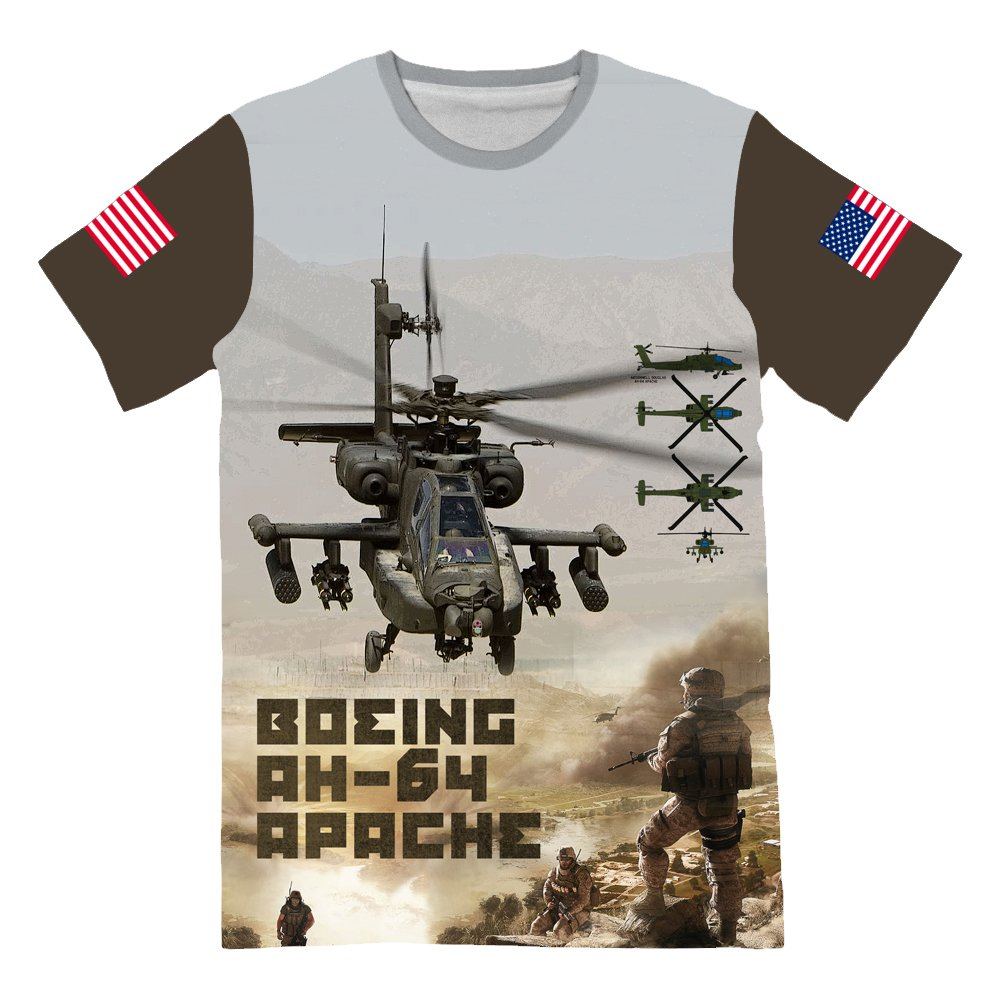 United States Army Fighter Boeing AH 64 T-Shirt for Mens 3D Allover Printed by NIWAHO