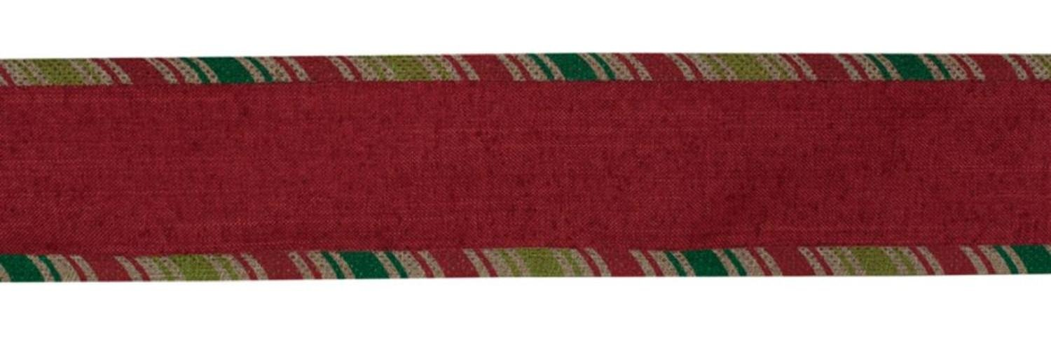 Melrose Red and Green Striped Ribbed Wired Craft Ribbon 2.5'' x 60 Yards