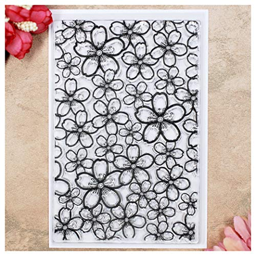 Kwan Crafts Flowers Background Clear Stamps for Card Making Decoration and DIY Scrapbooking