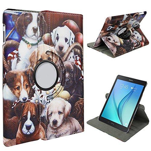 Xtra-Funky Serie Samsung Galaxy Tab S2 (8.0) cristal de brillo cuero de la Falso de 360 ??° grados que giran el soporte elegante de la caja con función de despertador automático / reposo Incluye un l Perros