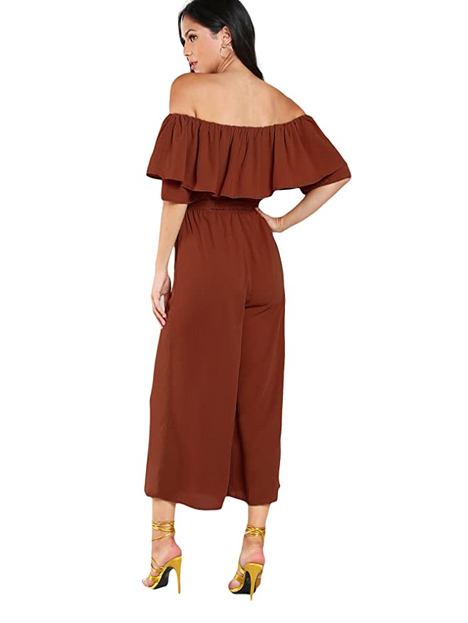 243c4ffafdd Amazon.com  Verdusa Women s Off Shoulder Exaggerate Tiered Layer Ruffle  Jumpsuit  Clothing