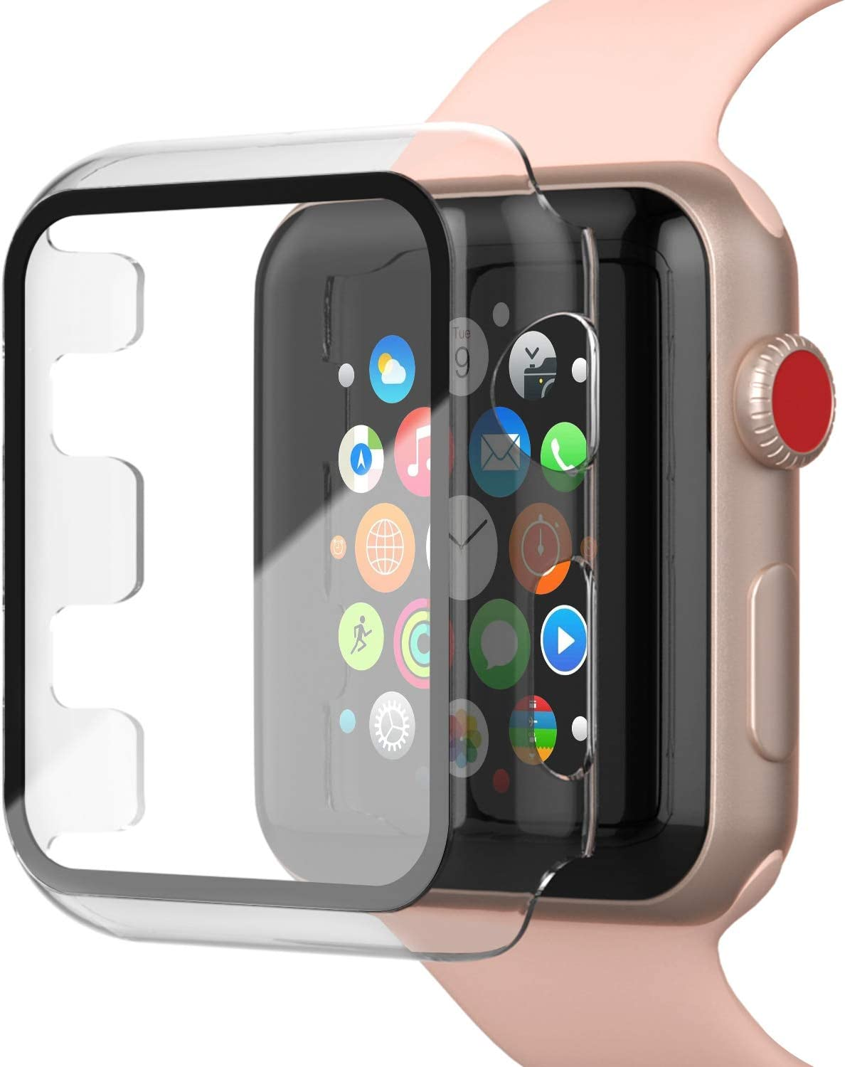 INTLIFE Case Compatible with Apple Watch Series 3 / Series 2 42mm with Screen Protector, Matte Hard PC Protective Cover with Tempered Glass Screen Protector Accessories for iWatch (Transparent)
