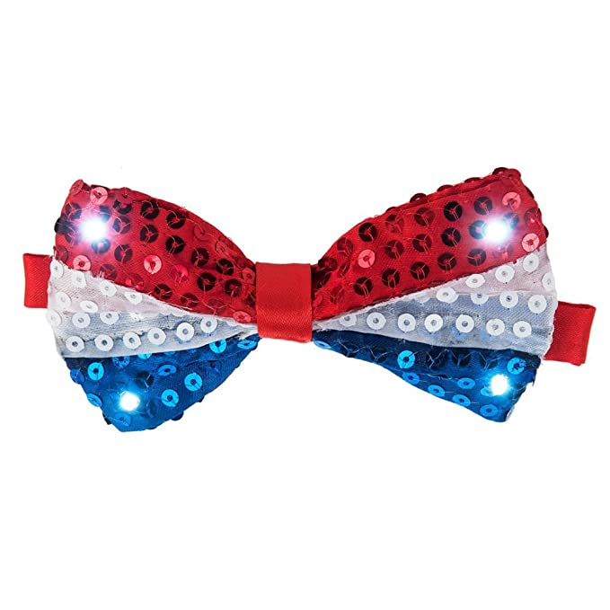 98b3f640da35 Amazon.com: Light Up LED Patriotic Red White and Blue Sequins Bow ...
