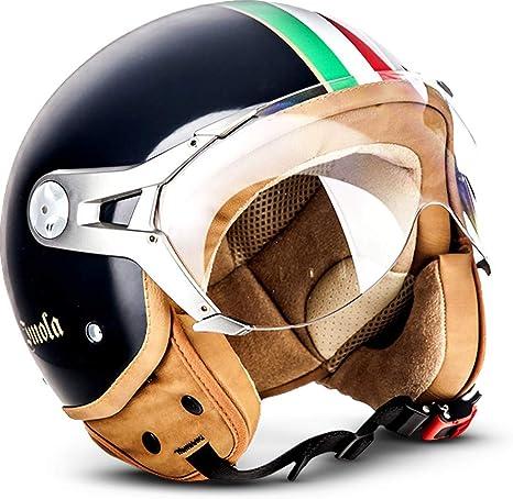 Soxon Sp 325 Couleur Cruiser Motorcycle Helmet Vespa Moped Helmet Vintage Bobber Pilot Helmet Ece Certified With Sun Visor And Fabric Carrying Case L 59 60cm Black Auto
